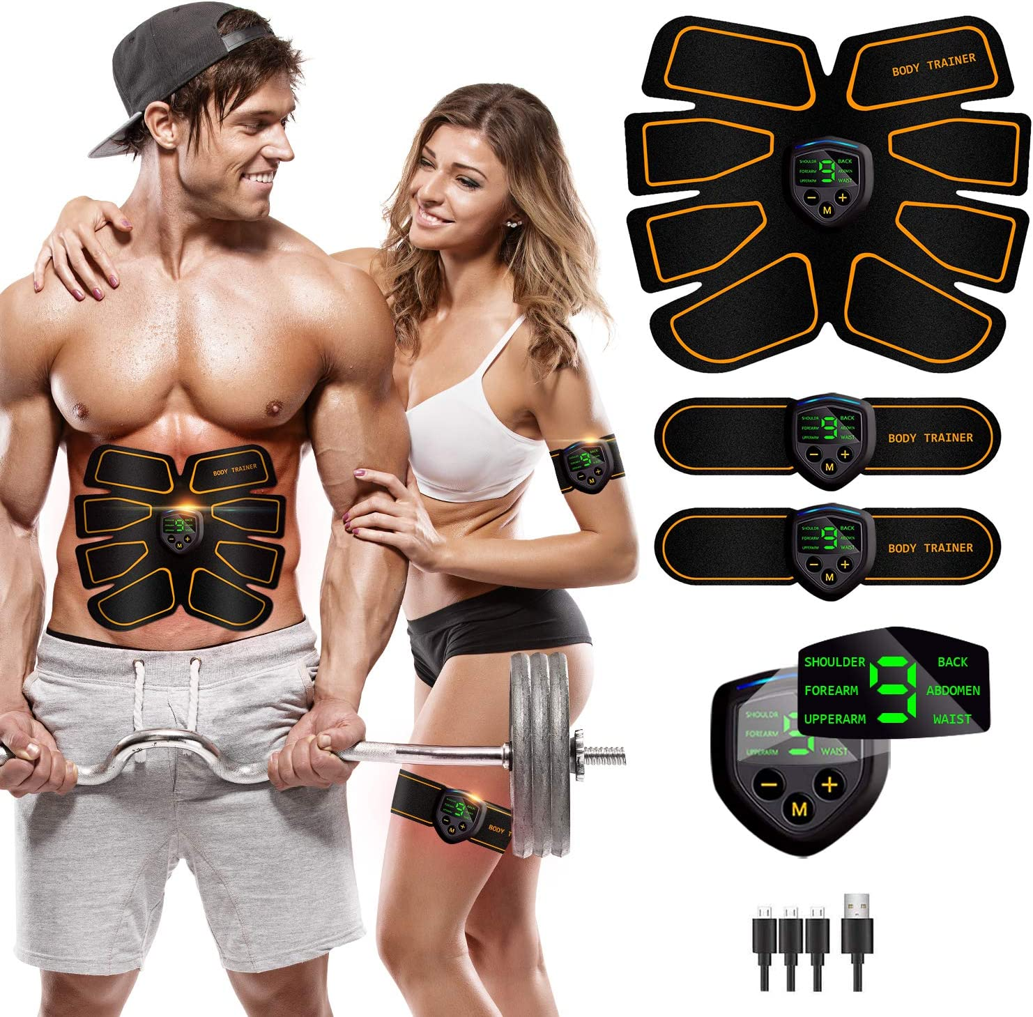 Rechargeable Abdominal Muscle Trainer Home Fitness Abs Stimulator Toner