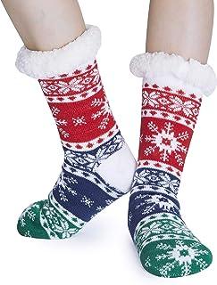 Calcetines navideños antideslizantes para niños Calcetines lindos de copo de nieve de punto Calcetines de invierno Niños Niñas Calcetines gruesos forrados con forro polar Sherpa
