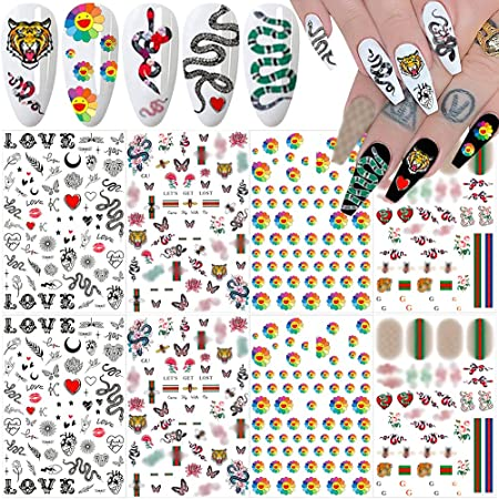 Nail Art Stickers Decals 3D Nail Art Supplies Sunflower Snake Heart Tiger Butterfly Nail Decals for Nail Art Design Self Adhesive Luxury Designer Nail Stickers for Nails Art Decoration (8 Sheets)