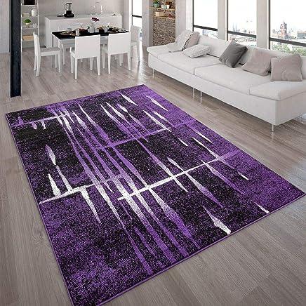 Tapis Design Moderne Poil Court Trendy Violet Crème Moucheté,  Dimension:160x220 Cm