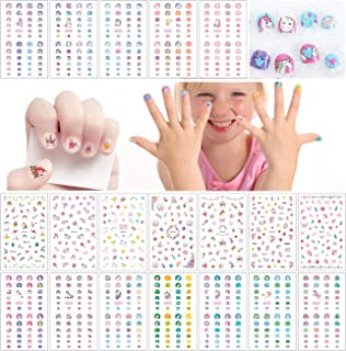 Le Fu Li 19 sheets Kids Self Adhesive Unicorn Nail Art Stickers Decals Manicure Decoration for Little Girls for Fingernails Toenails Nail Tips child
