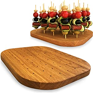 Wooden Oak Food Skewer Holder - Pick Stand and Food Display - Made in Europe - Perfect for Cocktail Parties and Catering Events - Oval Board with 59-holes