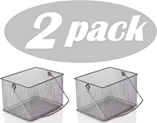 YBM Home Mesh Wire Food Storage Organizer Bin Basket with Handle for Kitchen Pantry, Cabinets, Bathroom, Laundry Room, Closets, Garage - Rectangle Metal Farmhouse Mesh Basket, 2 PACK