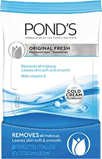 Pond's MoistureClean Original Fresh for quick and easy makeup removal Towelette dermatologically tested and approved 28 count Pack of 4
