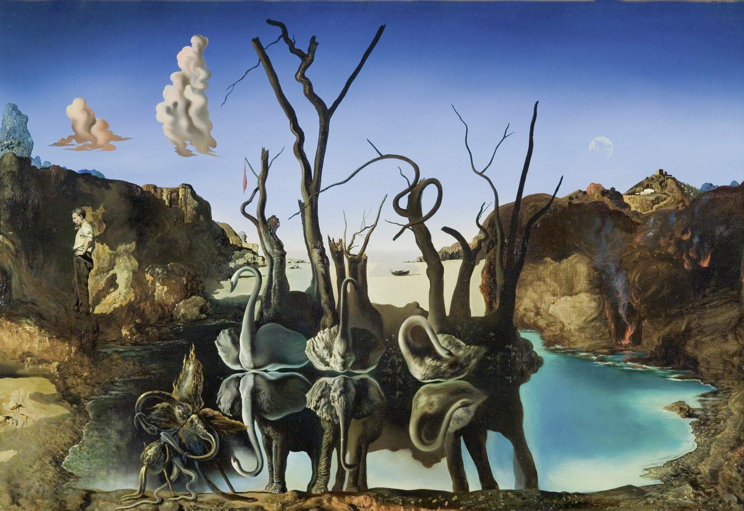 Get Custom Art Salvador Dali - Swans Reflecting Elephants, Poster Art Print Wall Decor - Size 16x24 Inches