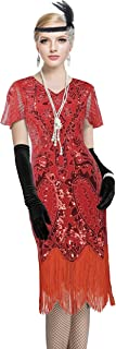 Women's 1920s Gatsby Inspired Sequin Beads Long Fringe Flapper Cocktail Dress
