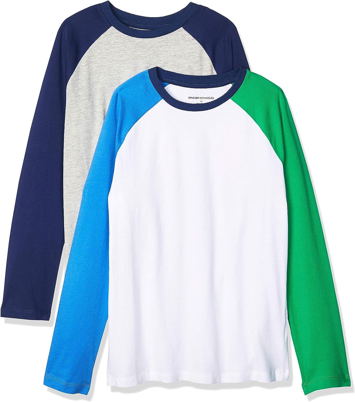 Amazon Essentials Boys' Long-Sleeve Raglan Baseball T-Shirts