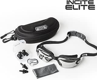 Incite Elite Swimming Goggles Swim Goggles Antifog with Protective Case, Nose Clip, Ear Plugs - Pro Performance Adult Swim Goggle with UV Protection for Triathlon Men Women