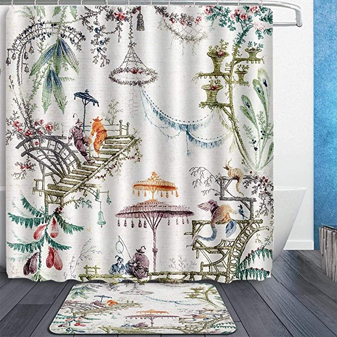 Amazon Com Mahenshangm China Enchanted Forest Chinoiserie Chinese Painting 2 Set Bathroom Set 72x72in Shower Curtain 15 7x23 6in Bath Mats Floor Doormat Rugs Home Kitchen