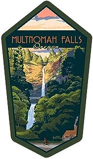 Lantern Press Multnomah Falls, Oregon - Sunset - Contour 97873 (Vinyl Die-Cut Sticker, Indoor/Outdoor, Small)