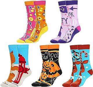 5 pares de calcetines de algodón para mujer, divertidos, casuales, para Halloween, calabazas, ciervos, coloridos, dibujos animados