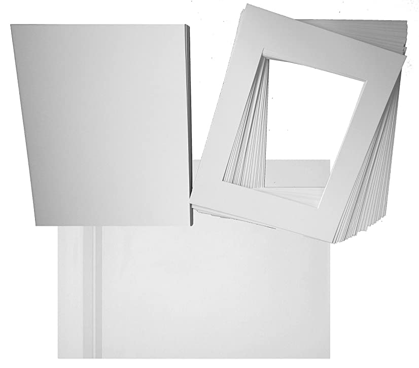 Hall of Frame Pack of 25 White Pre-Cut 11x14 Picture Mat for 8x10 Photo with White Core Bevel Cut Mattes Sets. Includes 25 A1 White Acid Free Mats & 25 Backing Board & 25 Clear Bags