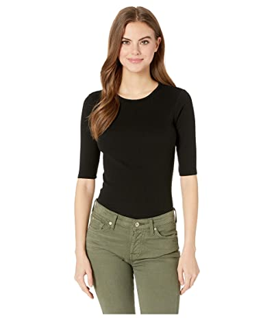 Michael Stars Tara Ultra Rib Slim Crew Neck Tee (Black) Women