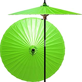 Oriental-Decor 7 Foot Tall Hand-Painted Patio Umbrella in Melon Green, Handcrafted Bamboo Dual-Height Market Umbrella with Hardwood 2-Piece Pole