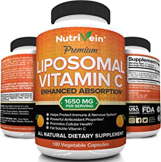 Nutrivein Liposomal Vitamin C 1600mg - 180 Capsules - High Absorption Ascorbic Acid - Supports Immune System and Collagen ...