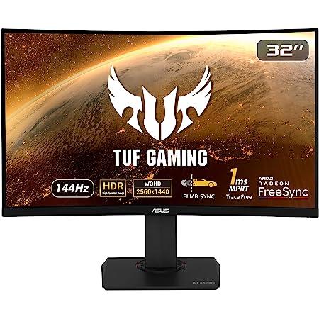 """Asus VG32VQ TUF Gaming - Monitor curvo Gaming de 32"""" WQHD (2560x1440, 144 Hz, 1 ms, 16:9, 3000:1, IPS, 1800R, ELMB SYNC, Adaptive-Sync, HDR10, MPRT, DVI, HDMI, USB, DisplayPort) Negro"""