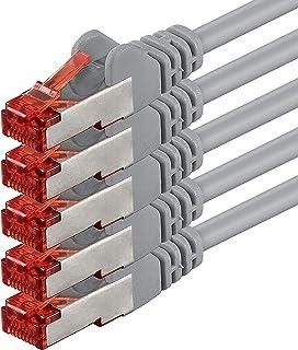 Nätverkskabel Cat 6 (2m - grå - 5 delar) Ethernet-kabel Cat-kabel Lan-kabel Cat6 (SFTP PIMF) dubbelskärmad Patchkabeluppsä...