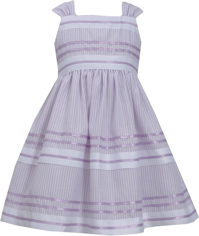 Bonnie Jean Girls Metallic Pencil Stripe Ribbon-n-Linen Dress