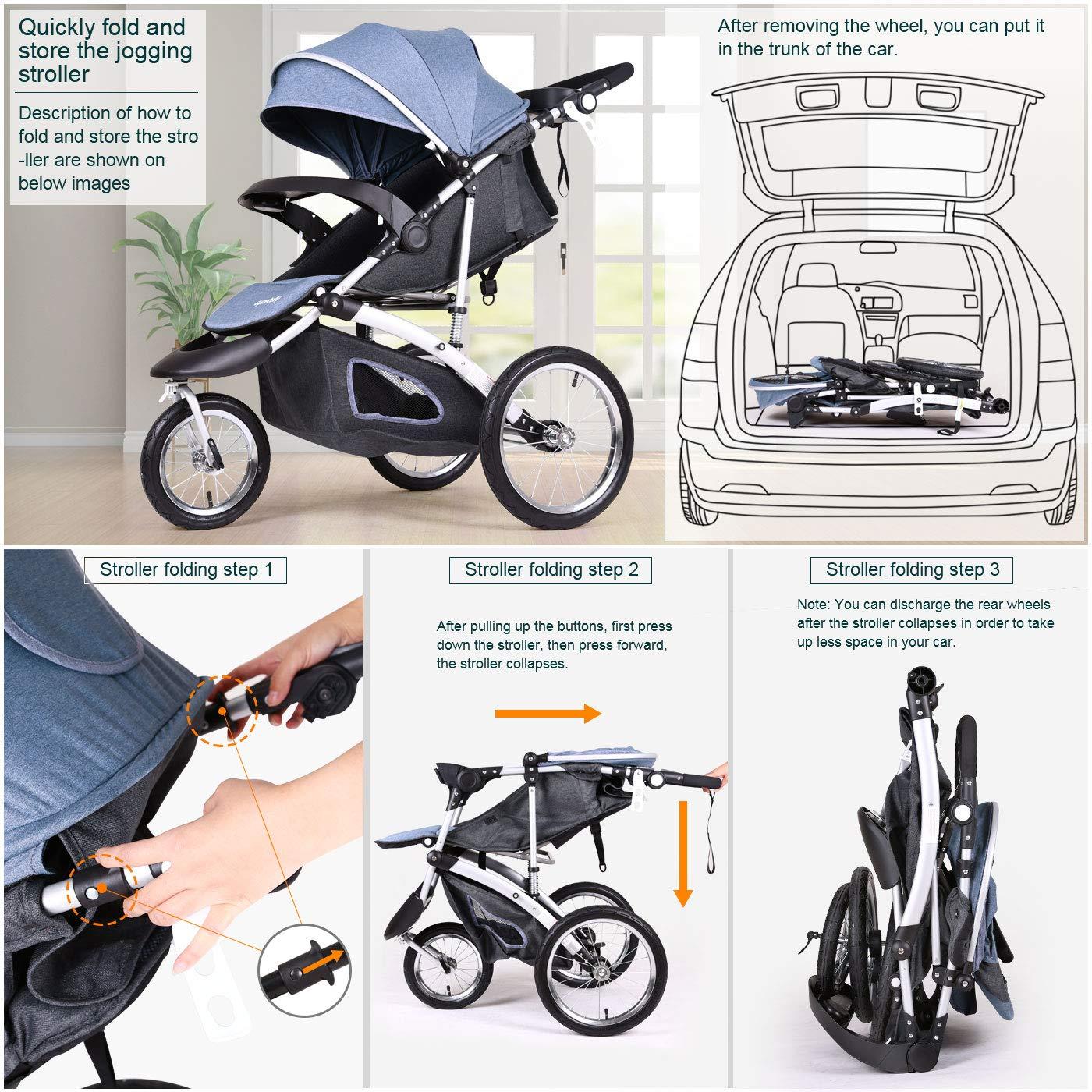 Jogging Stroller Fold City Travel Citi Jog Strollers Single Toddler Baby Pram Jogging Compact Urban Ultralight Joggers Beby Carriage Pushchair Stroller Travel System