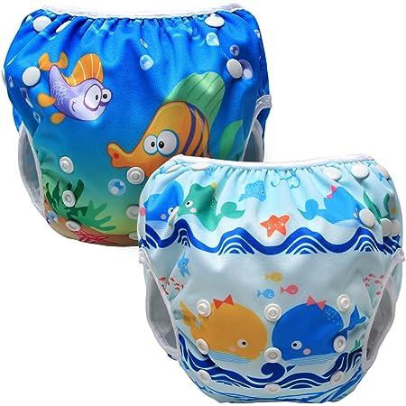 Luxja 赤ちゃん水着 2点セット 0~3歳 サイズ調節可能 再利用可能 クジラ+魚