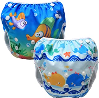 Blue White Cute Pattern HBselect Reusable Swim Nappies for Baby Toddler Boy Adjustable Swimming Pants Swimwear for 0-3 Years Old Baby