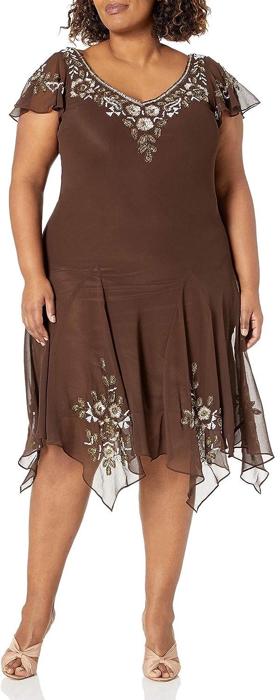J Kara Women's Plus-Size V-Neck Hanky Hem Short Dress