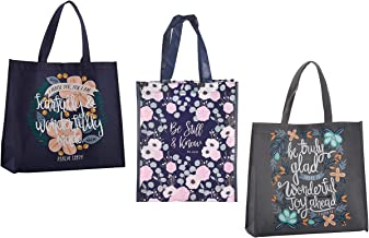 3 Religious Themed Inspirational Christian Tote Bags for Women | Psalm Verse, Peter Verse Theme | Reusable Totes Bundle Se...
