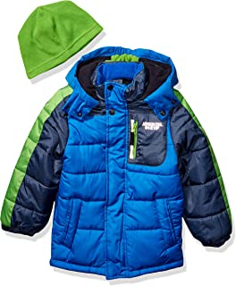London Fog Boys' Color Blocked Puffer Jacket Coat with Hat