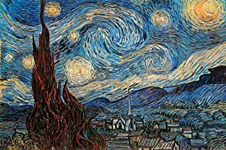 The Starry Night 1889 by Vincent Van Gogh Art Print Cool Huge Large Giant Poster Art 54x36
