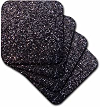 3dRose Black Faux Glitter-Photo of Glittery Texture-Glam Matte Sparkly Bling-Glamorous Stylish Girly-Soft Coasters, Set of 4 (CST_112926_1)