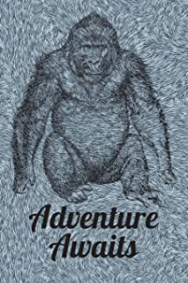 Adventure Awaits: 6x9 Journal, Blank Unlined Paper - 100 Pages, Gorilla Ape B&W Fur Wallpaper Design Notebook for Kids and Adults, School Work Office Trip Vacation