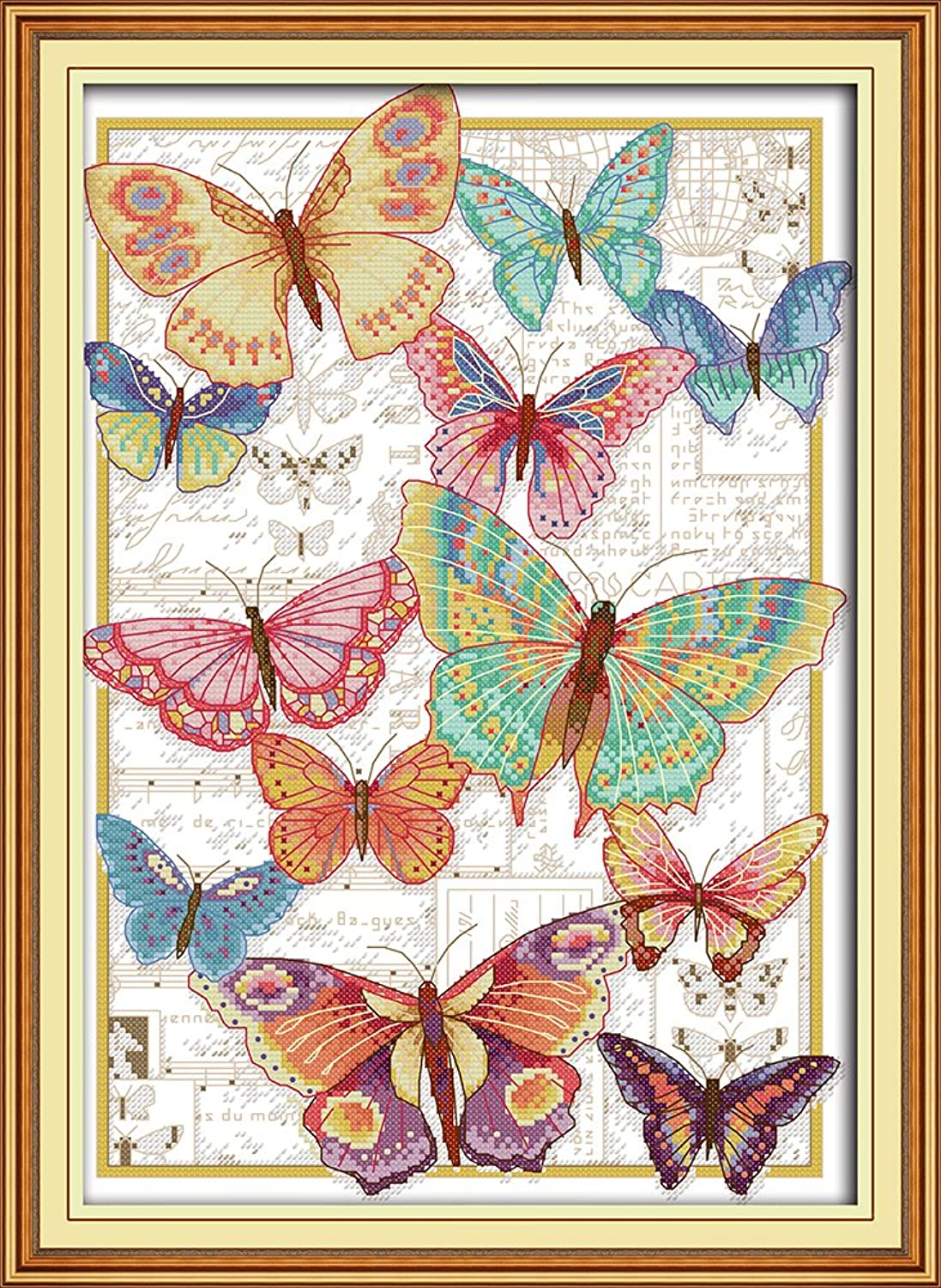 Full Range of Embroidery Starter Kits Stamped Cross Stitch Kits Beginners for DIY Embroidery with 40 Pattern Designs - Butterflies