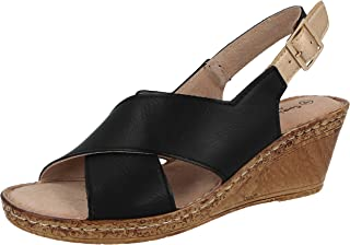 405dccc4c9 Ladies Cushion Walk Wide E Fit Leather Lined Wedge Peep Toe Strappy Summer  Sandal Size 3