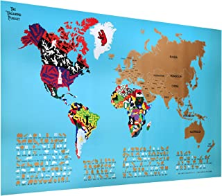 """The Vagabond Pursuit Deluxe Scratch Off World Travel Map, Unique World Map Poster on 33"""" X 22"""" Quality Glossy Paper + Scratch Tool and Decorative Protective Cardboard Tube, Gift Map, Kids & Adults"""