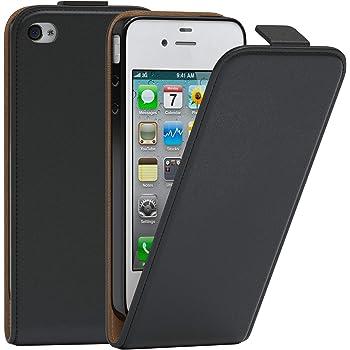 EAZY CASE Flip Case für Apple iPhone 4/4 S Schutzhülle mit vertikaler Klappfunktion, Klapphülle im Flip Cover Style, Handytasche Handyhülle, Tasche mit Magnetverschluss, Kunstleder, Schwarz