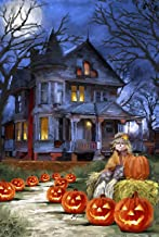Toland Home Garden Spooky Manor 28 x 40 Inch Decorative Halloween Jack o Lantern Pumpkin House Flag