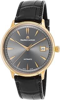 Maurice Lacroix Lc6037-Pg101-330 Men's Les Classiques Auto Black Croco Grey Dial 18K Rose Gold Watch
