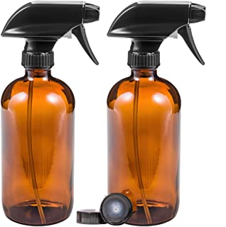 Glass Spray Bottles For Cleaning Solutions With Dual Setting Spray Nozzle, 16oz Amber Glass Refillable Containers Used For Hair, Cleaner, Or Essential Oil Products (2 Pack Labels & Poly Caps Included)