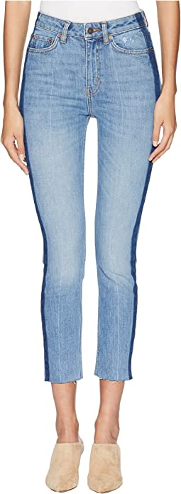 Lizy Jeans with An Unfinished Side Hoop in Blue