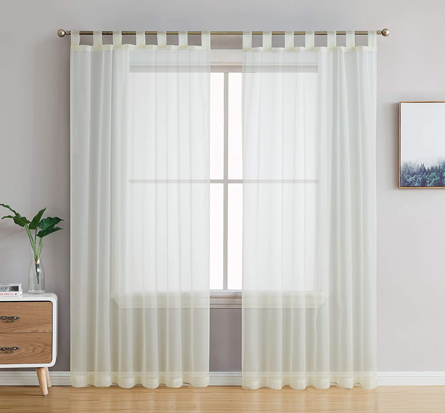 HLC.ME Ivory Tab Top 54 inch x 63 inch Long Window Curtain Sheer Voile Panels for Living Room & Bedroom, Set of 2
