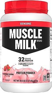 Muscle Milk Genuine Protein Powder, Strawberries 'N Crème, 32g Protein, 2.47 Pound,..