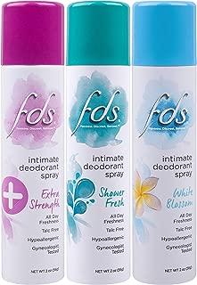 FDS Intimate Deodorant Spray | Feminine Spray for All Day Freshness & Odor Protection | Variety Pack Shower Fresh + White Blossom | pH-balanced, Talc-Free, Gynecologist Tested | 2oz, pack of 3