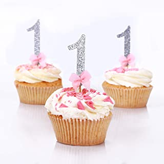 Silver and Pink Cupcake Toppers. First Birthday Party Decorations. Girl Birthday Number Picks in Silver and Pink 18CT