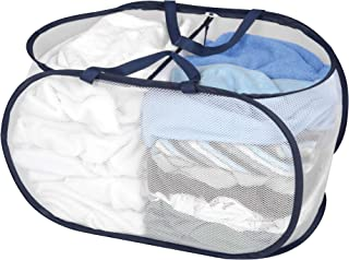 Smart Design Deluxe Mesh Pop Up 2 Compartment Laundry Sorter Basket w/Handles - VentilAir Fabric Collapsible Design - for Clothes & Laundry - Home Organization (Holds 2 Loads) (23 x 15 Inch) [White]