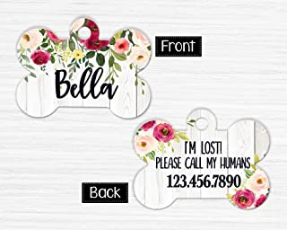 Floral Dog Tag, Personalized Pet Tag, Custom Pet Tag, Dog ID Tag, Personalized Dog Tag, Dog Name Tag, Double Sided Name Tag, Girl Dog Tag