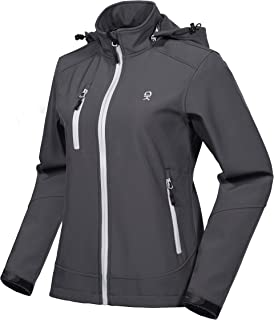 Little Donkey Andy Women's Softshell Jacket with Removable Hood, Fleece Lined and Water Repellent