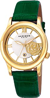"Akribos XXIV Women's Crystal Watch - See Thru Roman Numerals Cut Out Crystal Rose Dial Wave Pattern ""Floating"" Dial with Date On Crocodile Embossed Leather Strap - AK837"