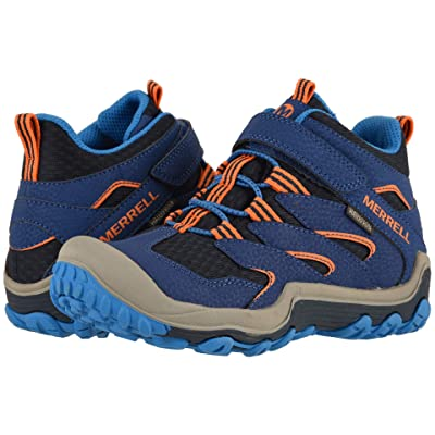 Merrell Kids Chameleon 7 Access Mid A/C Waterproof (Little Kid/Big Kid) (Navy/Orange/Blue) Kid
