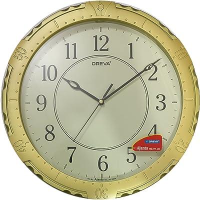 Ajanta (Oreva) Quartz Chronograph Design Plastic Round Shape 32 cm X 32 cm Fancy Premium Home Decor Wall Clock For Home And Office (Gold)