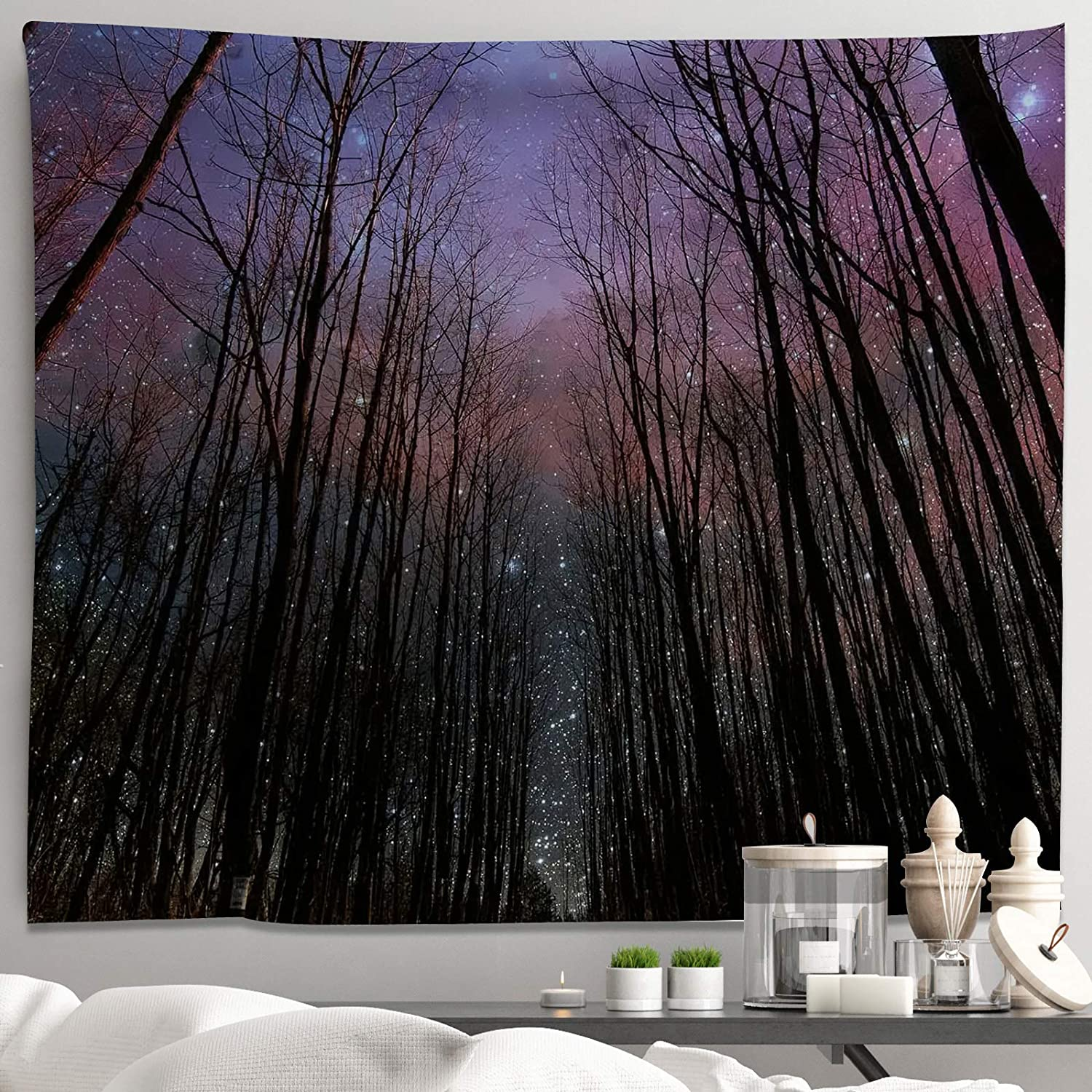 Night Forest Tapestry Wall Hanging Nature Landscape Tapestry Through Starry Night SkyTree Tapestries for Bedroom Living Room Dorm Decor(H51.2×W59.1)